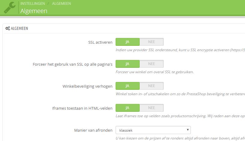 Binnen de algemene instellingen van PrestaShop kan je SSL forceren
