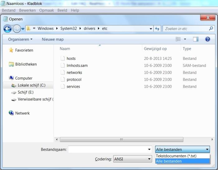 Open het hosts bestand als administrator