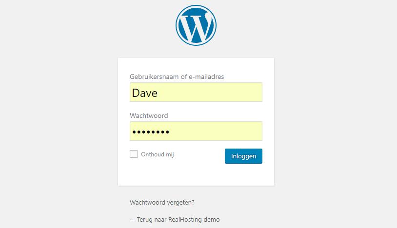 Zo ziet de inlogpagina van WordPress eruit