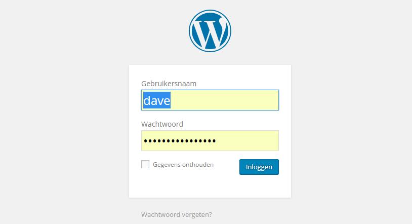 Zo ziet het inlogscherm van WordPress eruit