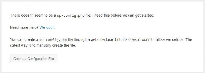 Beginscherm bij installatie WordPress