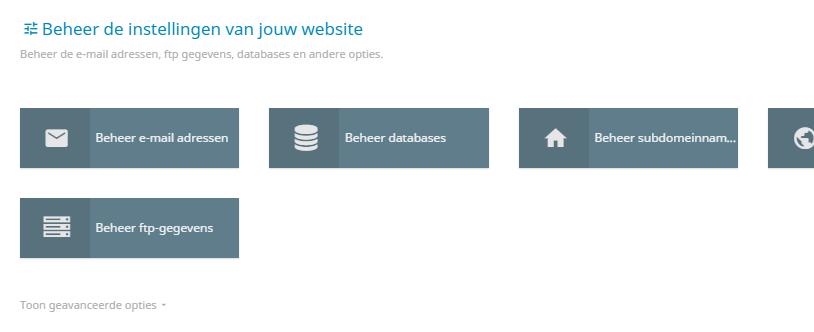 Per hostingpakket kan je verschillende opties beheren