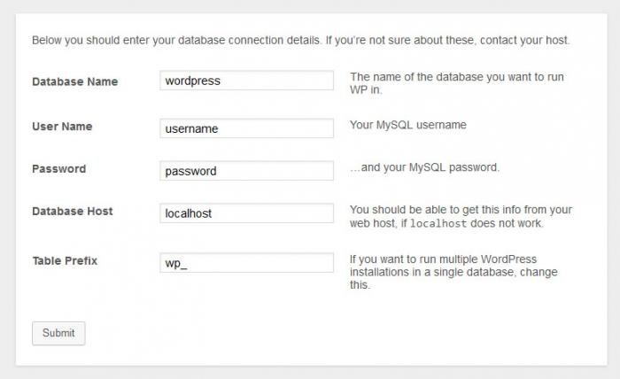 Database configuratie binnen WordPress