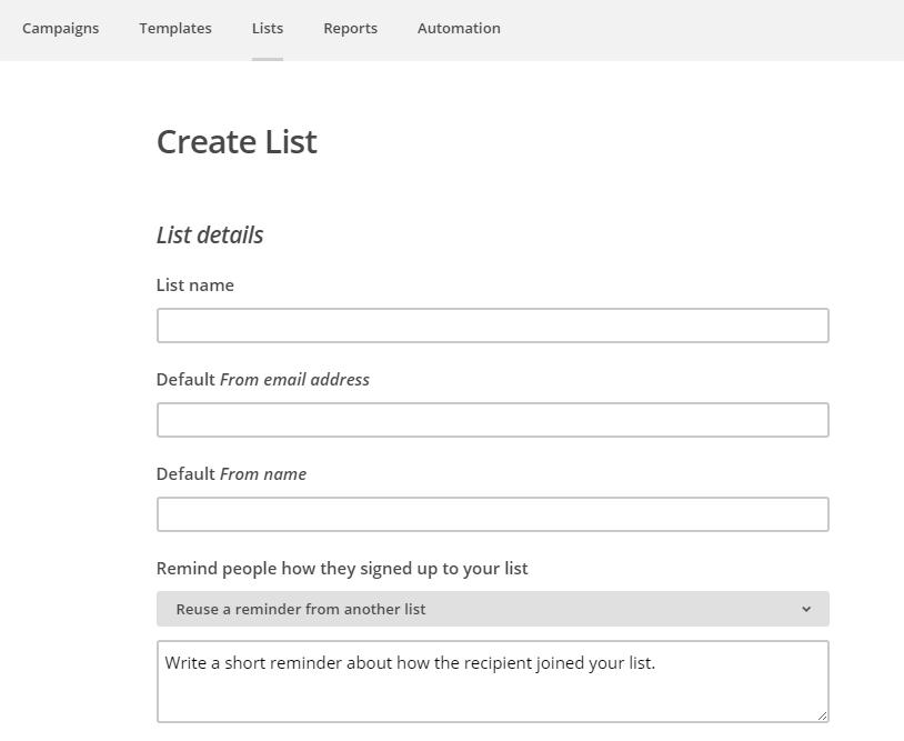 Mailinglijst in Mailchimp