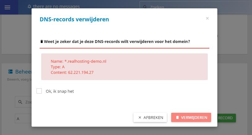 Ook DNS records verwijderen is erg eenvoudig
