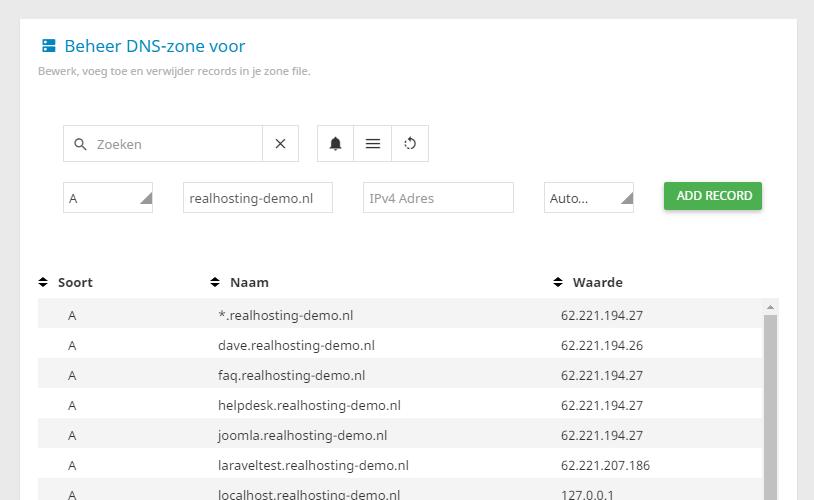 Je kunt eenvoudig de DNS-zone van jouw domeinnaam aanpassen