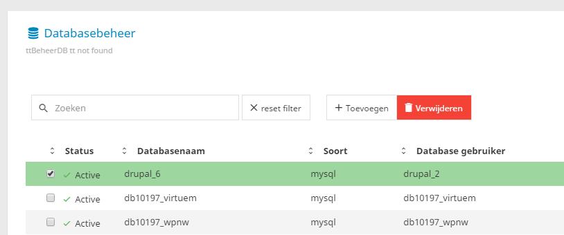 Het verwijderen van een database is eveneens erg eenvoudig