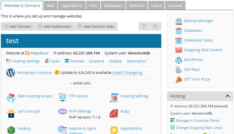 In Plesk kan je gemakkelijk je databases beheren