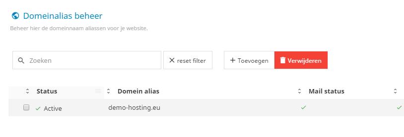 Je kunt eenvoudig aliassen toevoegen of verwijderen