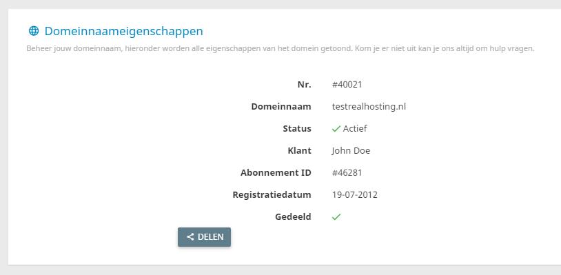Je kan jouw domeinnamen delen met andere gebruikers van het controle paneel