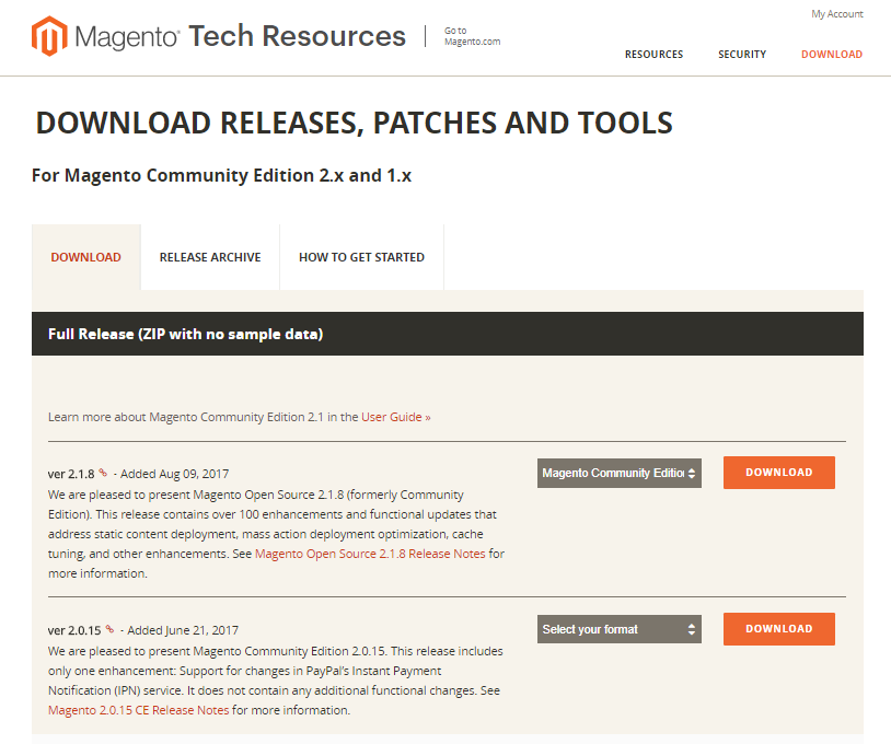 Download de meest recente release van Magento 2 via de website