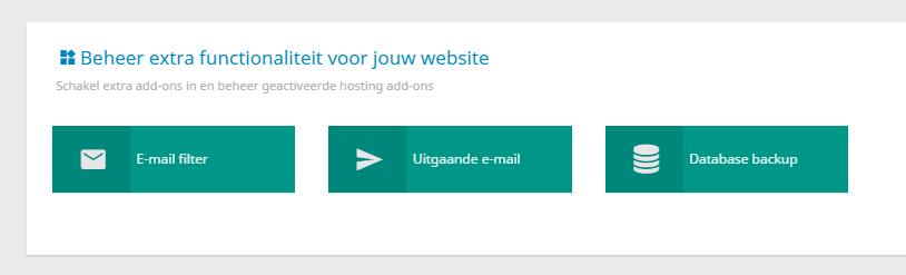 Per hostingpakket zijn er verschillende opties beschikbaar