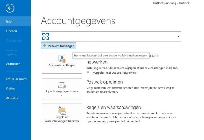 E-mail instellen Microsoft Outlook 2013