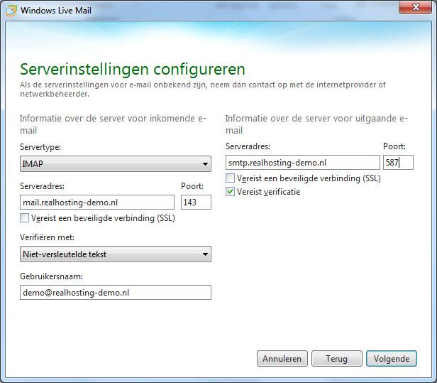 E-mail instellen Windows Live Mail