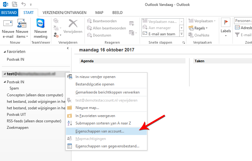 Open Microsoft Outlook 2013 en open Eigenschappen van account