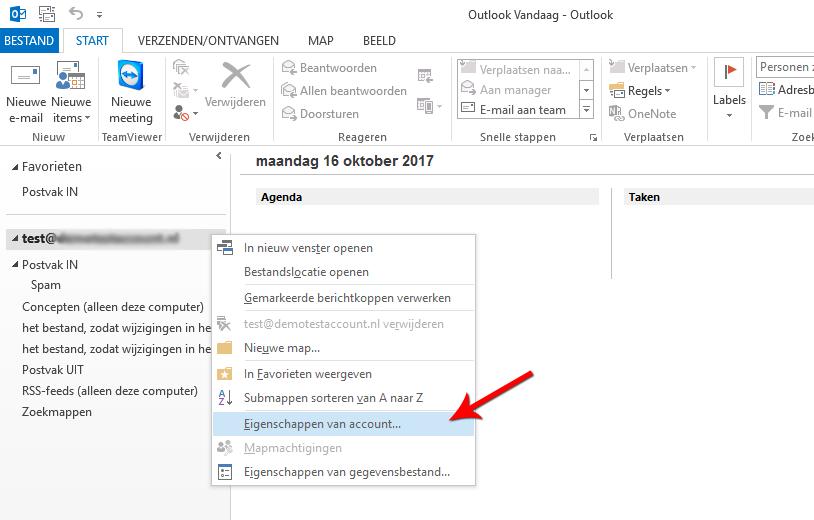 Open Microsoft Outlook 2013 en open Eigenschappen van account