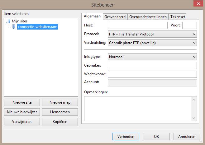 Bij het toevoegen dien je de FTP gegevens in te voeren