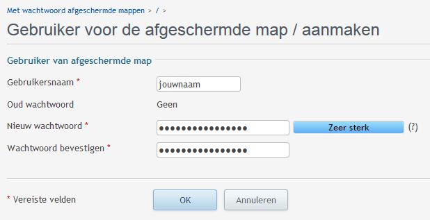 Gebruikers voeg je toe om toegang te krijgen tot een beschermde map