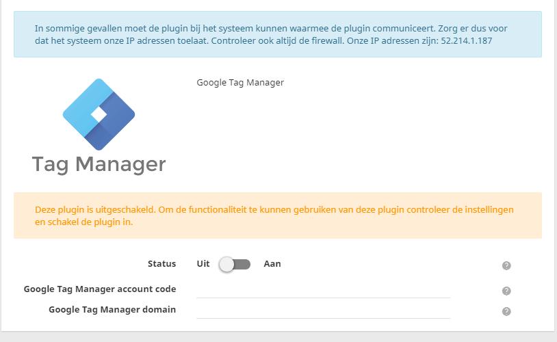 In het controle paneel kan je eenvoudig de Google Tag Manager koppelen aan jouw webshop