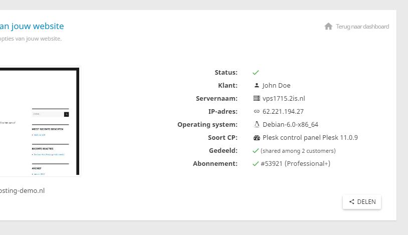 Je kan jouw hostingpakket delen met andere gebruikers van het controle paneel