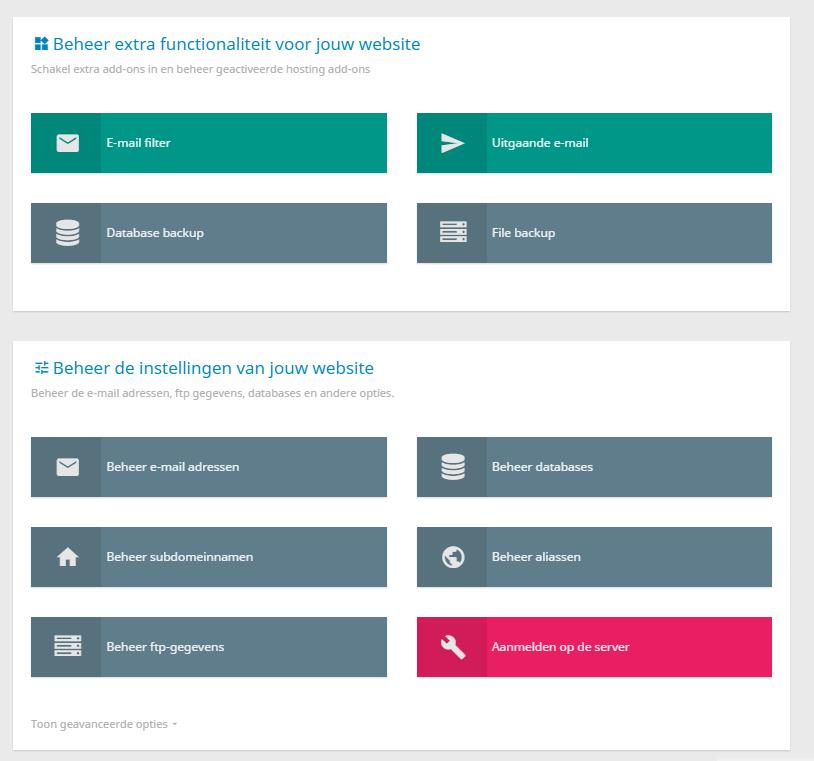 Per website kan je verschillende opties beheren