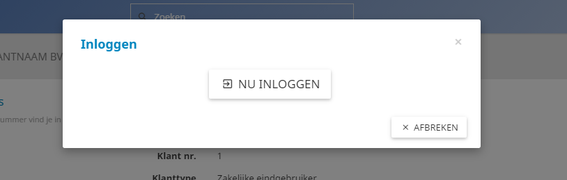 Via de groene knop kan je eenvoudig inloggen als klant