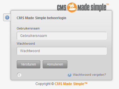 Inlogscherm CMS Made Simple