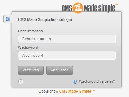 Inlogscherm CMS Made Simple
