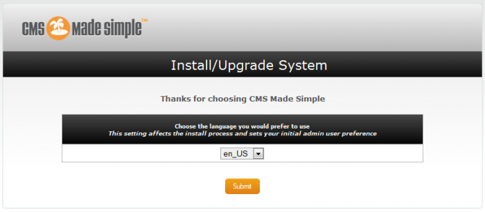 Beginscherm installatie CMS Made Simple
