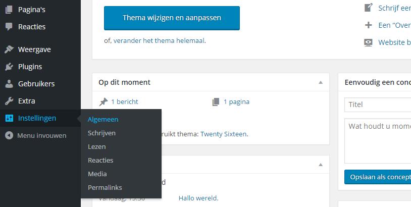 Zo ziet de back-end van WordPress eruit