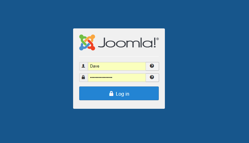 Zo ziet het inlogscherm van Joomla! eruit