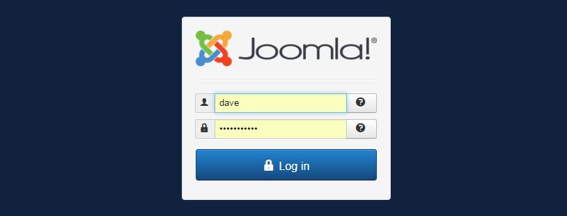 Zo ziet het inlogscherm van Joomla eruit