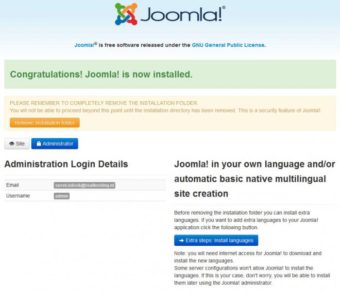 Configuratie Joomla! installatie