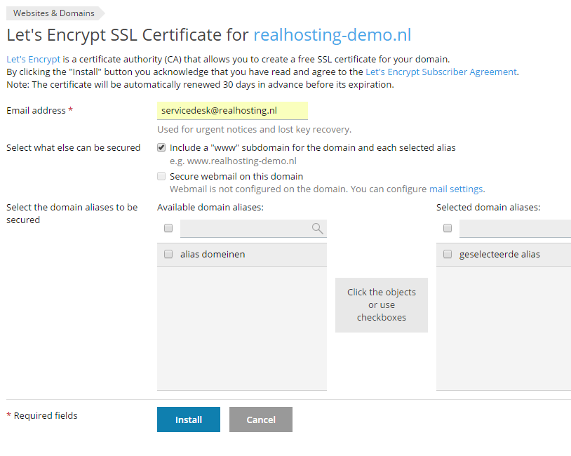 Let's Encrypt SSL-certificaat bestellen via Plesk