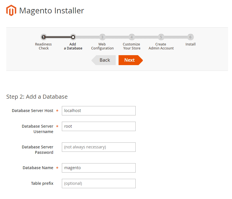 In deze stap van de installatie voeg je de database gegevens toe