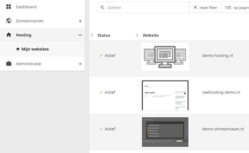 In het controle paneel kan je al jouw websites beheren
