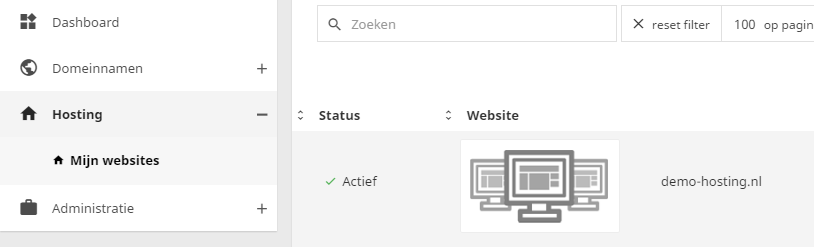 In het controle paneel vindt je een handig overzicht van jouw websites