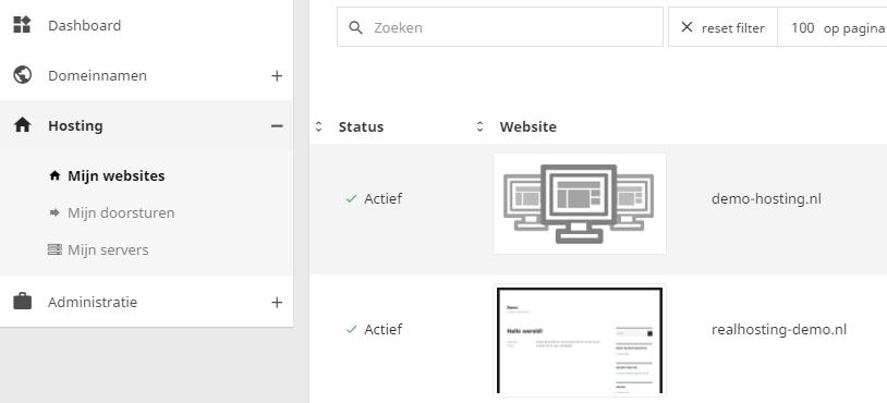 Binnen het controle paneel kan je al jouw websites beheren