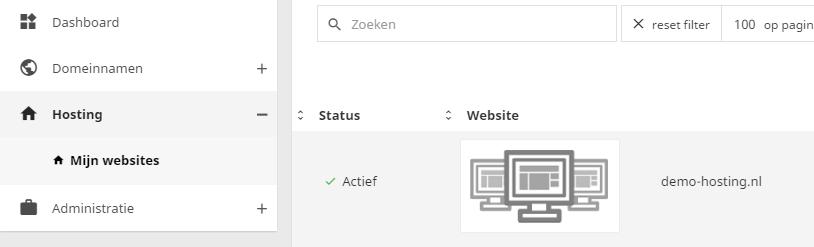 Mijn websites toont het overzicht van al jouw websites