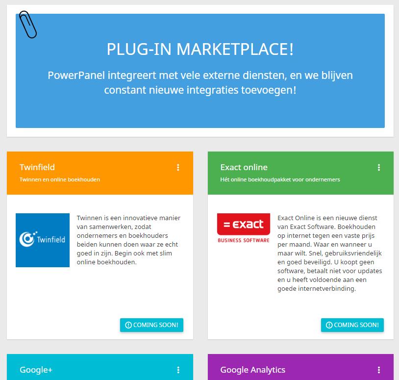 In het controle paneel kunnen gebruikers met plugins van andere leveranciers werken