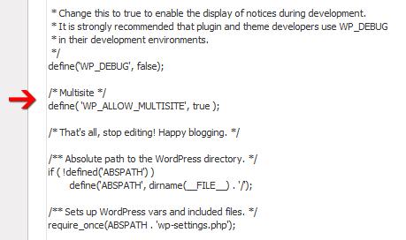 Binnen de wp-config.php moet je de multisite optie inschakelen
