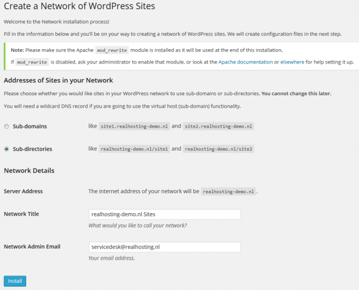 WordPress Network configureren via de back-end
