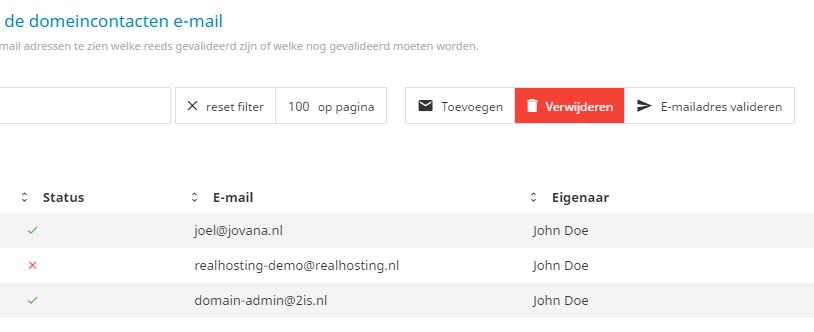 Een e-mailadres moet gevalideerd zijn om te kunnen gebruiken in een domeincontact