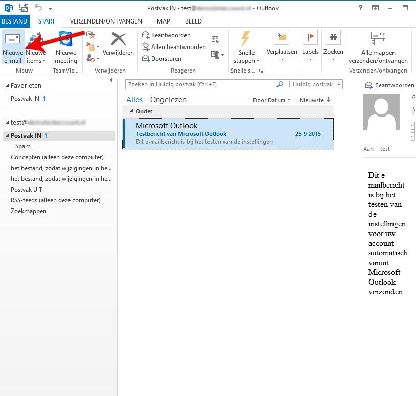 Open Microsoft Outlook 2013 en start een nieuw e-mailbericht