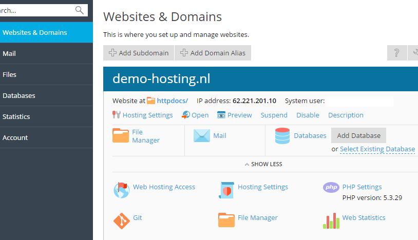 Via Plesk kan je gemakkelijk de PHP versie van jouw website aanpassen