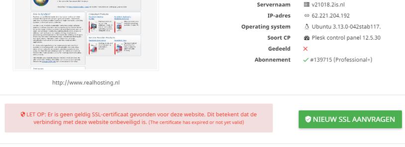 Wanneer er geen SSL-certificaat actief is verschijnt de promotie