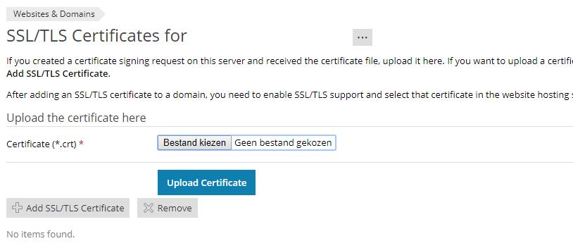 In Plesk kan je zelf een SSL-certificaat installeren