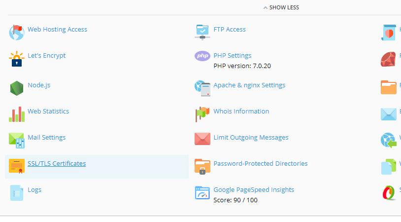 In Plesk kies je voor SSL/TLS Certificates