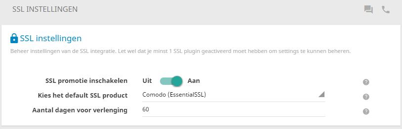 Waar gewenst kan je de promotie inschakelen voor SSL-certificaten