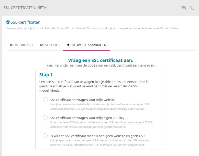Stap 1 van het bestellen van een SSL-certificaat